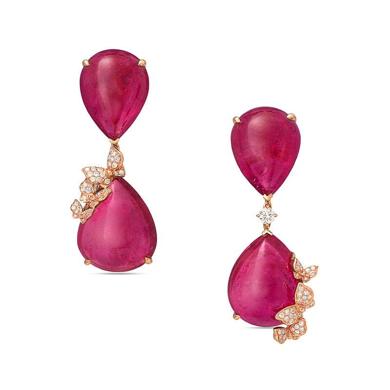 Dancing Butterfly Rubelite Earrings