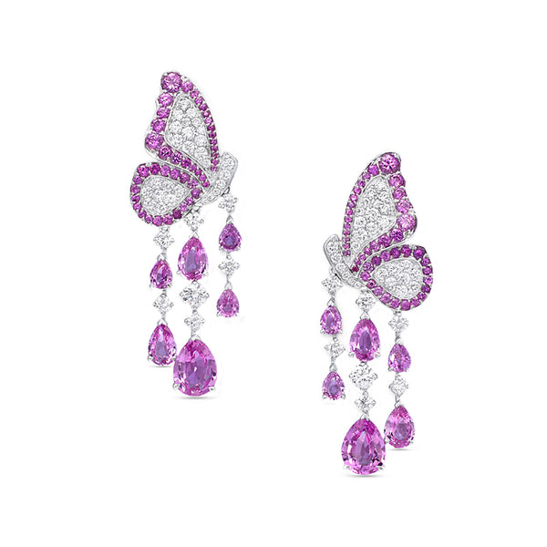 Dancing Butterfly Earrings In Pink Sapphires And Diamonds