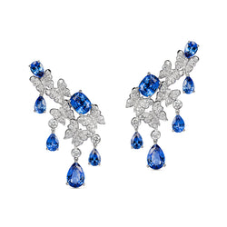 Dancing Butterfly Earrings In Blue Sapphires And Diamonds