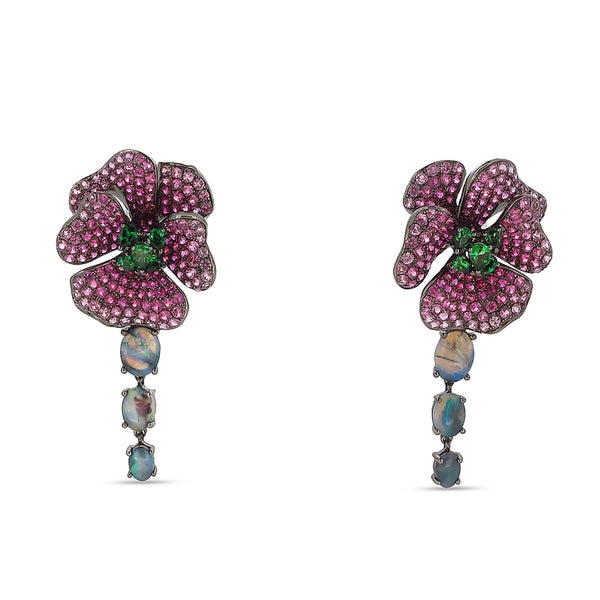 Pink Sapphire Bloom Drop Earrings