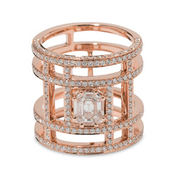 Illusion Diamond Pave & 18K Rose Gold Tube Ring