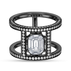 Illusion Diamond Pave & 18K Black Gold Multi Band Ring