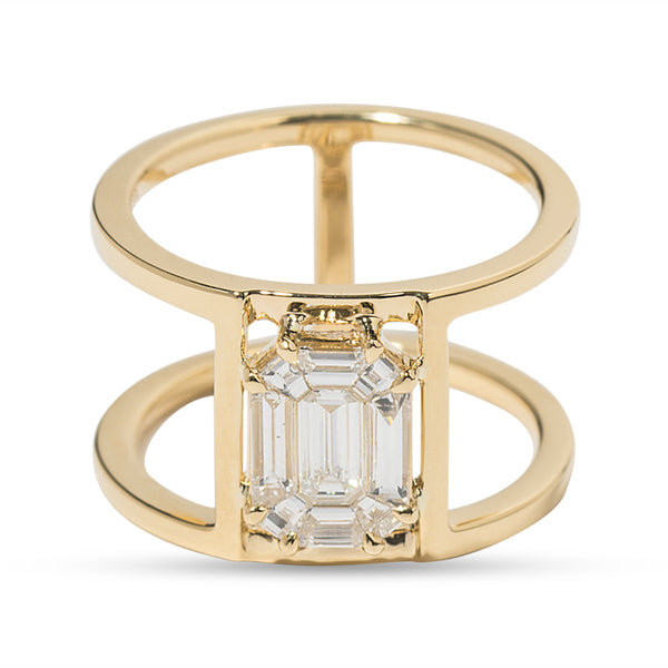 Illusion Diamond & 18K Yellow Gold Multi Band Ring