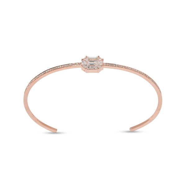 Illusion Diamond Pave & 18K Rose Gold Cuff