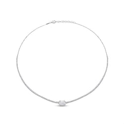 Horizontal Illusion Diamond Pave & 18K White Gold Choker