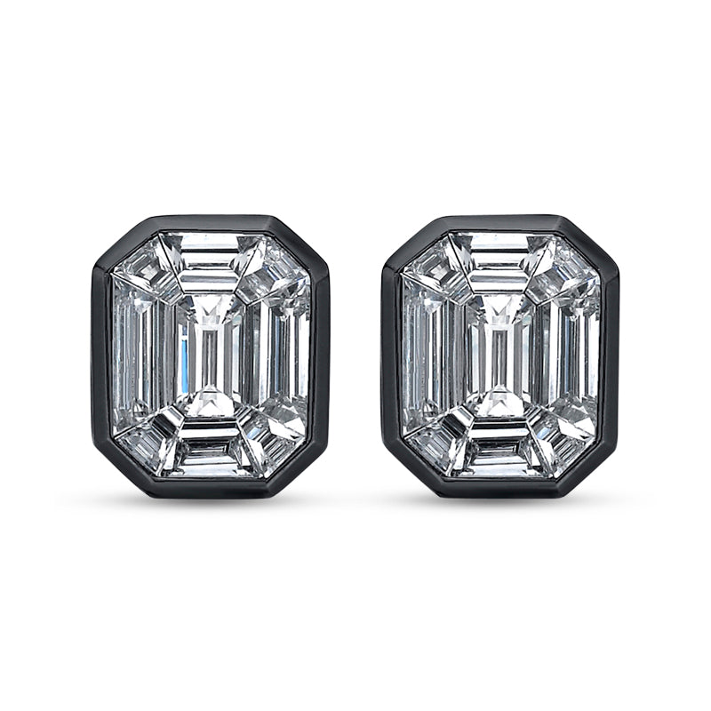 Illusion Large Diamond Stud Earrings