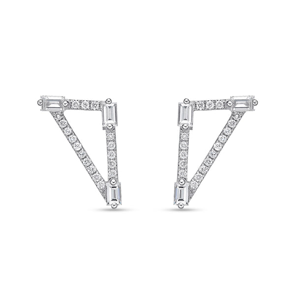 Baguette Diamond Triangle Stud Earrings
