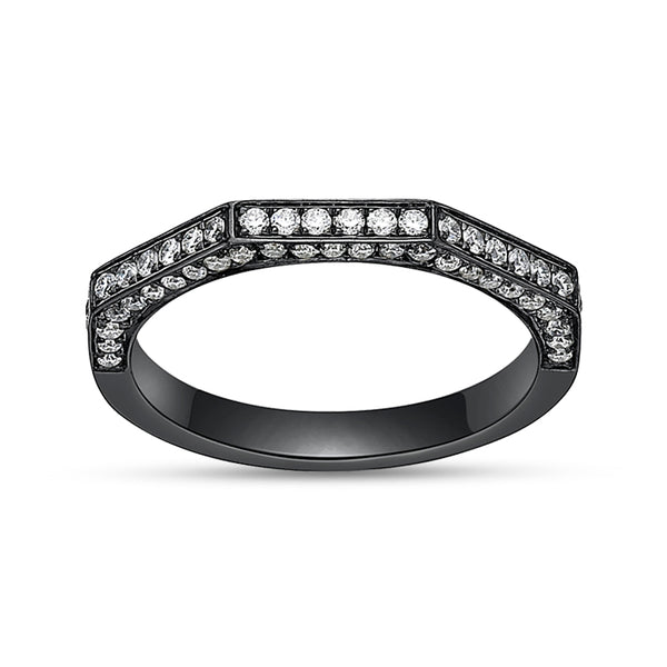 Deux Diamond Pave & 18K Black Gold Knuckle Ring