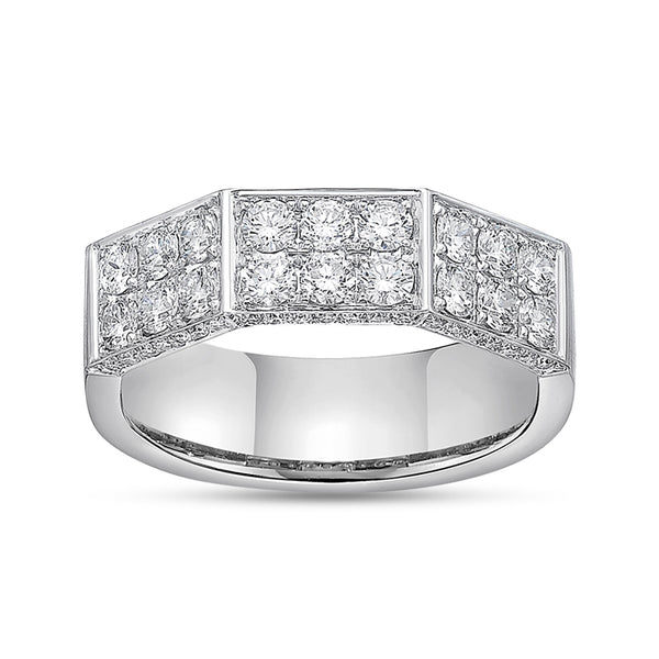 Deux Double Diamond Pave & 18K White Gold Band