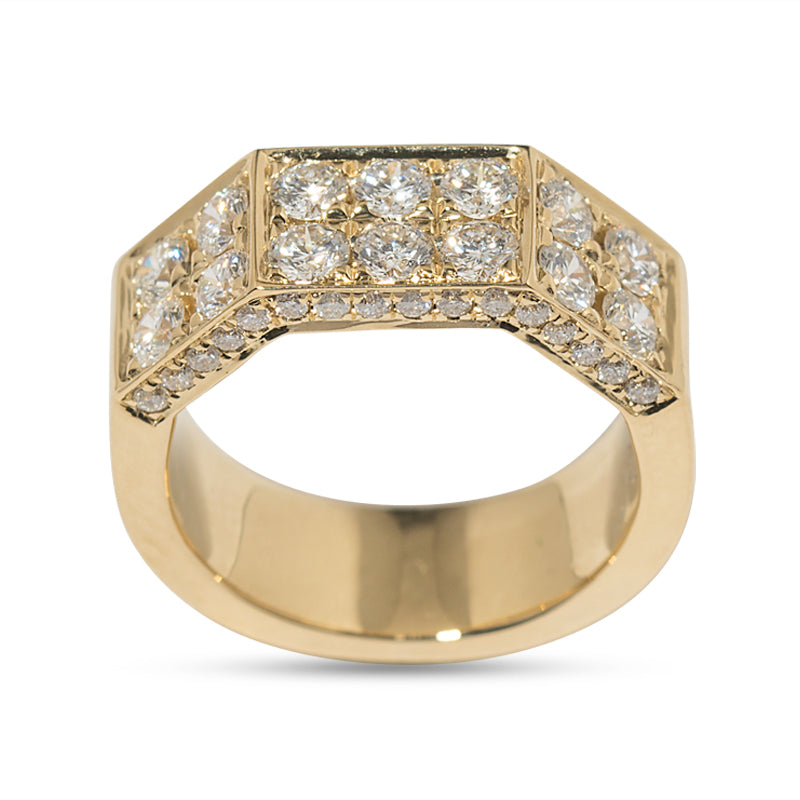 Deux Double Diamond Pave & 18K Yellow Gold Knuckle Band