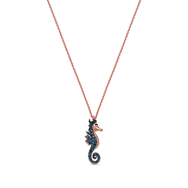 Aqua Light Seahorse Necklace with Blue Diamonds