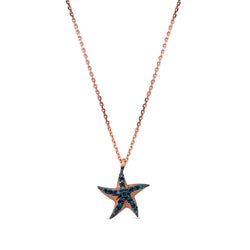 Aqua Light Starfish Necklace with Blue Diamond Accents