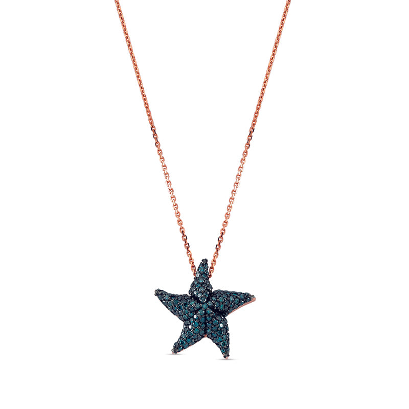 Aqua Light Starfish Necklace with Blue Diamonds
