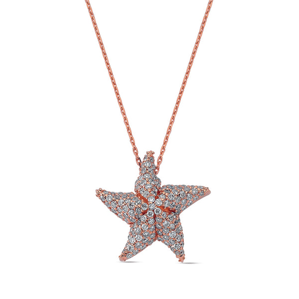Aqua Light Starfish Necklace with Diamonds