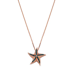 Aqua Light Starfish Necklace with Diamond Accents