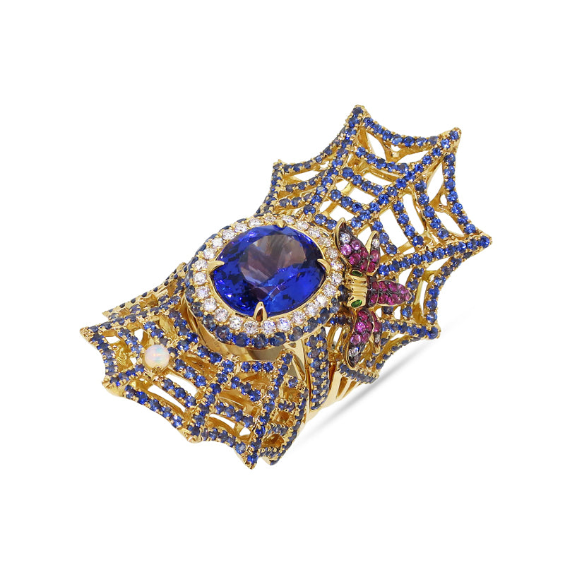 Blue Sapphire and Tanzanite Webbed Whimsy Ring