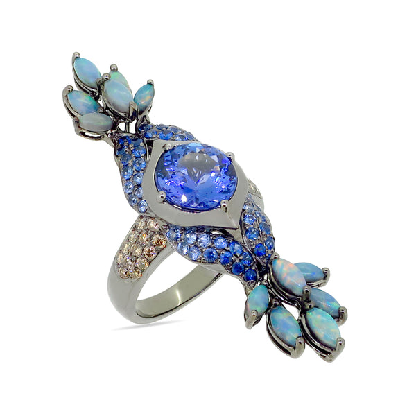 Tanzanite and Opal Peacock Ring