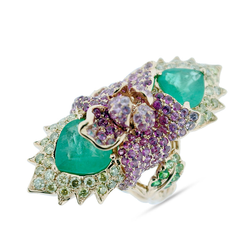 Emerald and Sapphire Tiger Lily Ring