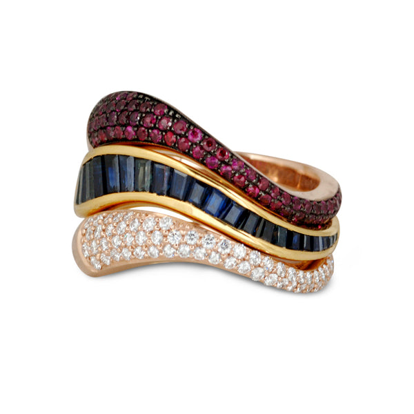 Talay Flow Wave Ruby Stacking Ring
