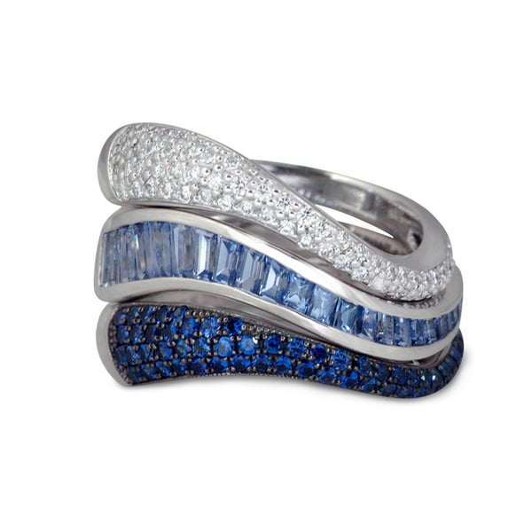 Talay Flow Wave Blue Sapphire Stacking Ring