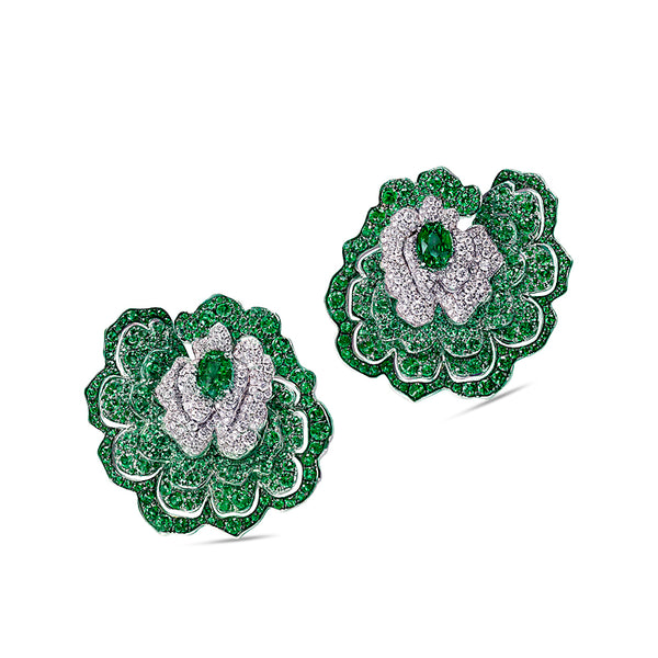 Enchanted Garden Earrings In Diamonds And Emeralds