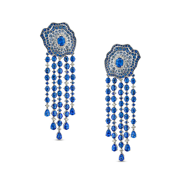 Enchanted Garden Chandelier Detachable Earrings In Diamonds And Blue Sapphires