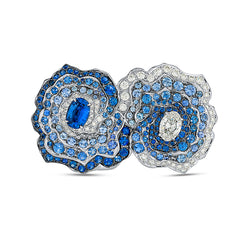 Enchanted Garden Double Ring In Diamonds And Blue Sapphires