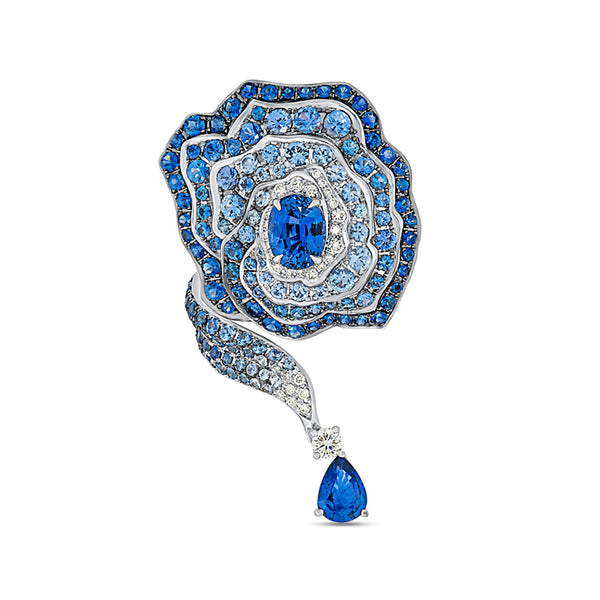 Enchanted Garden Elongated Ring In Diamonds And Blue Sapphires