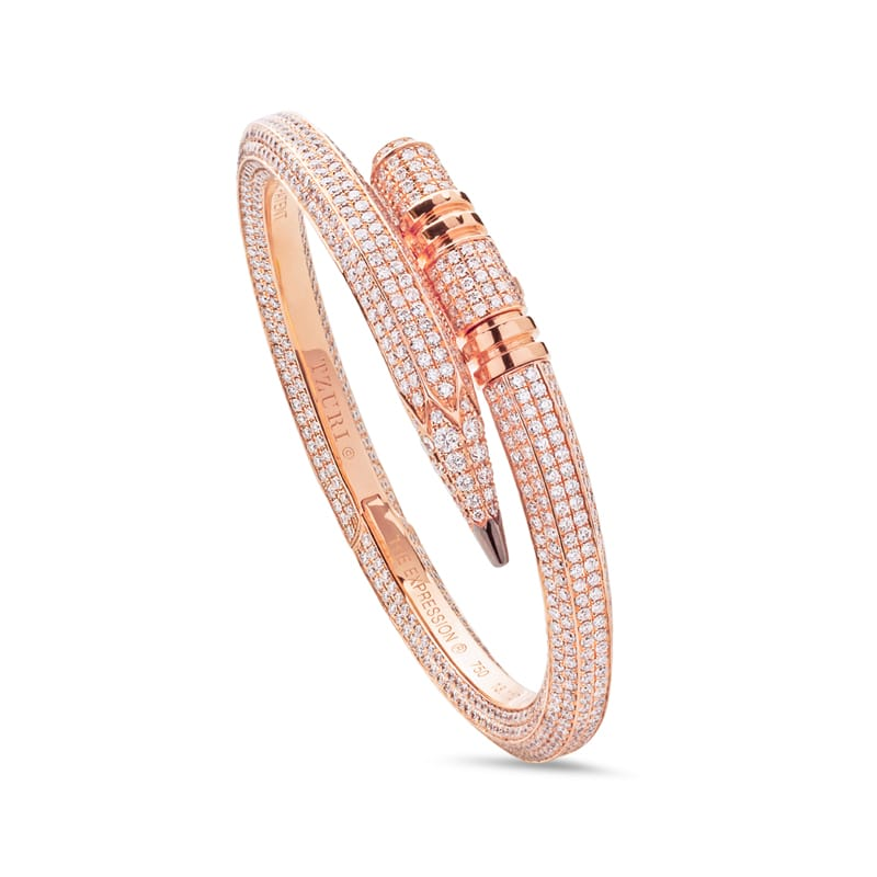 Signature All Diamond Bling Pencil Bracelet in Rose Gold