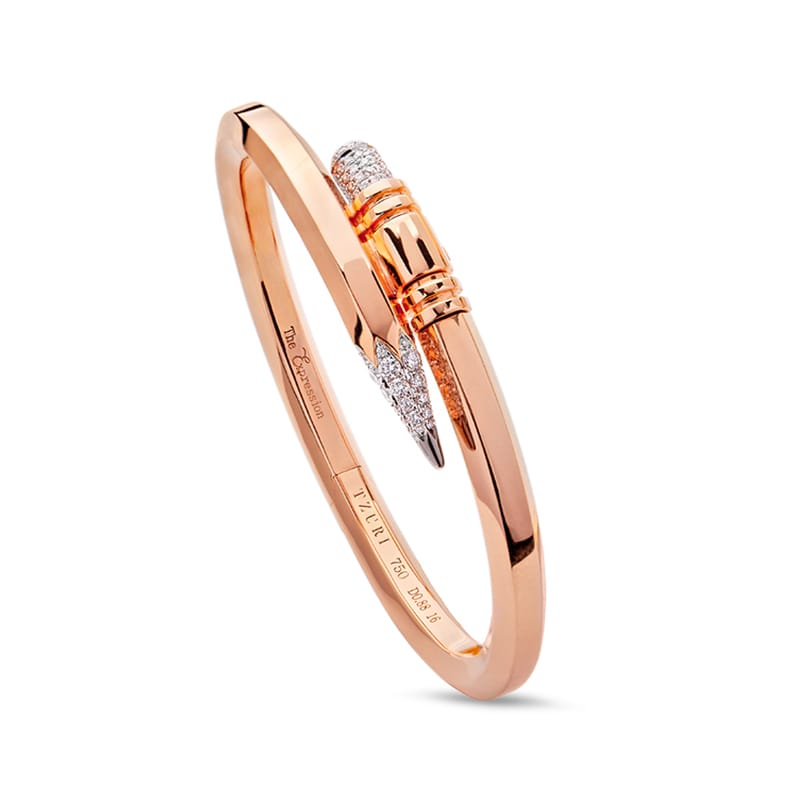 Medium Gauge Rose Gold Signature Pencil Bracelet