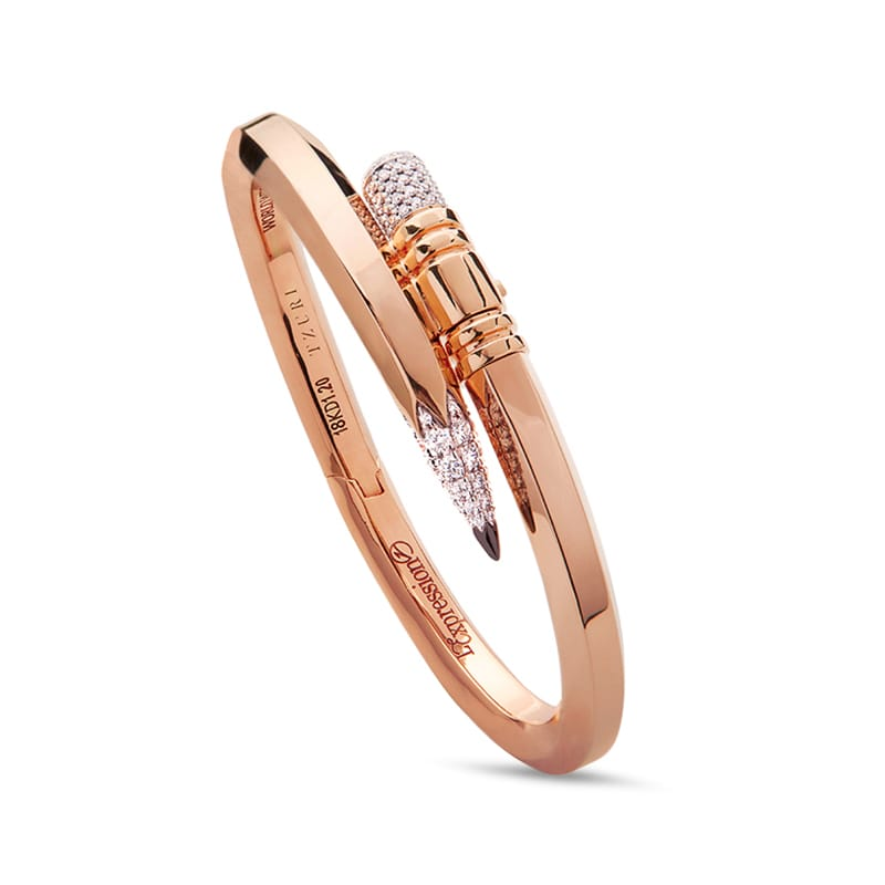 Large Gauge Rose Gold Signature Pencil Bracelet