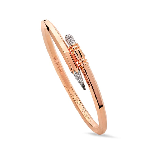 Thin Gauge Rose Gold Signature Pencil Bracelet