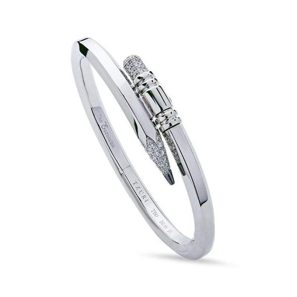 Tzuri: Medium Gauge White Gold Signature Pencil Bracelet