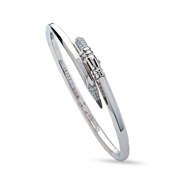 Thin Gauge White Gold Signature Pencil Bracelet