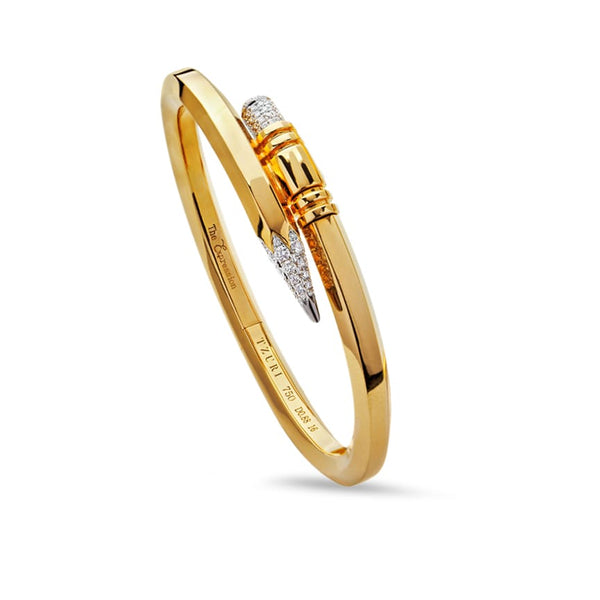 Medium Gauge Yellow Gold Signature Pencil Bracelet