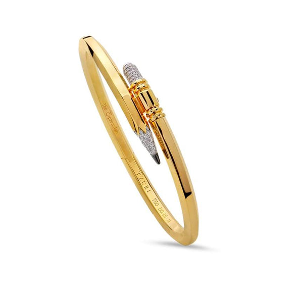 Tzuri: Thin Gauge Yellow Gold Signature Pencil Bracelet