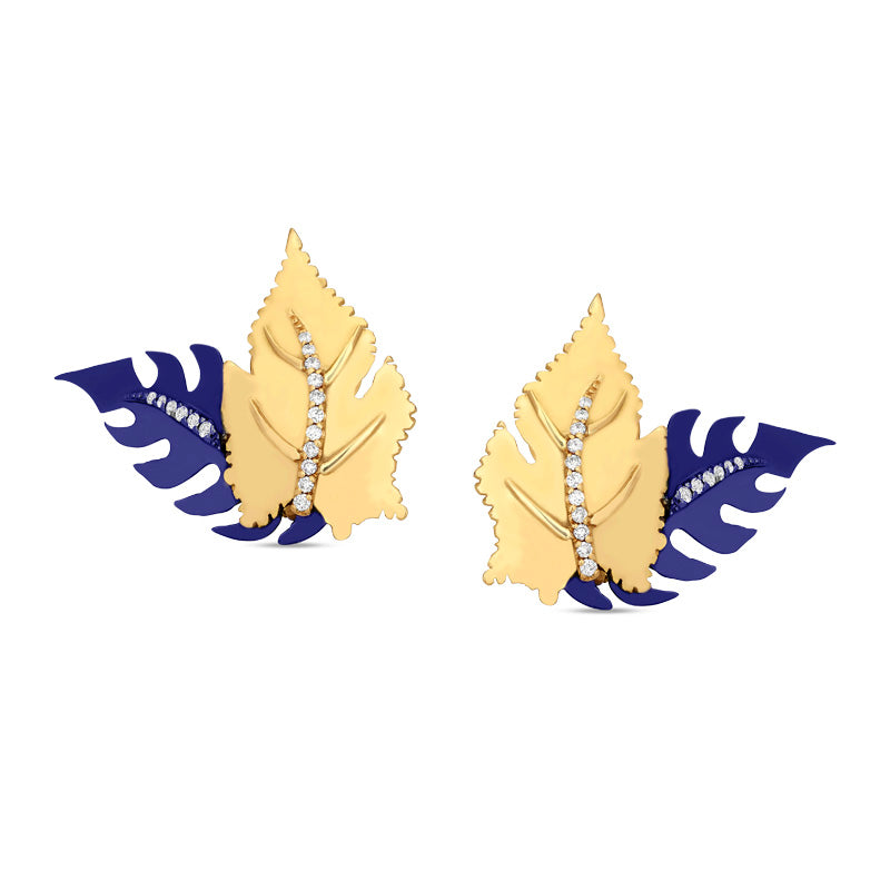 Mini Blue Double Leaf Earring