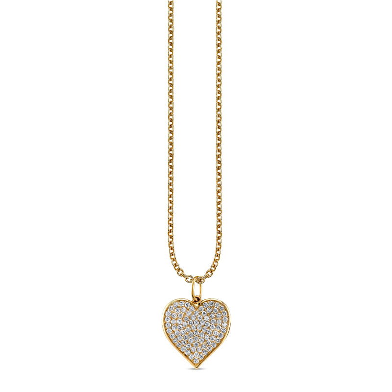Large Pavé Diamond Heart Charm Necklace