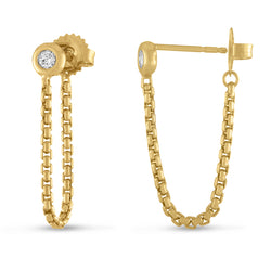 Gold Crosstown Chain Earrings