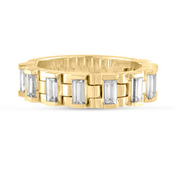 The Freelancer, #BeFlexible Baguette Hinged Band in 18K