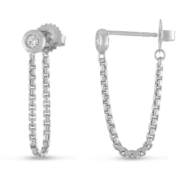 Sterling Crosstown Chain Earrings
