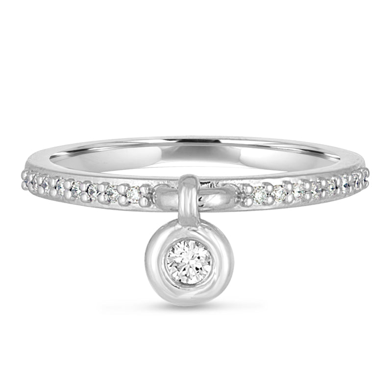 Queen of Bounce' Charm Ring, 14K White Gold