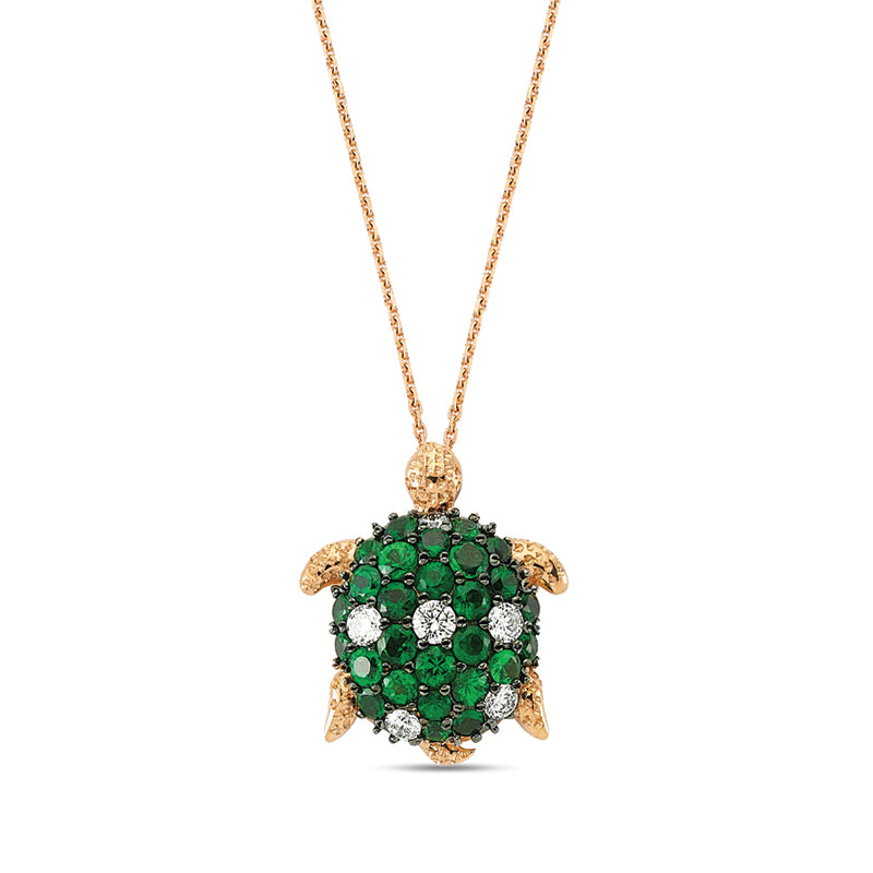 Aqua Light Turtle Necklace with Emeralds