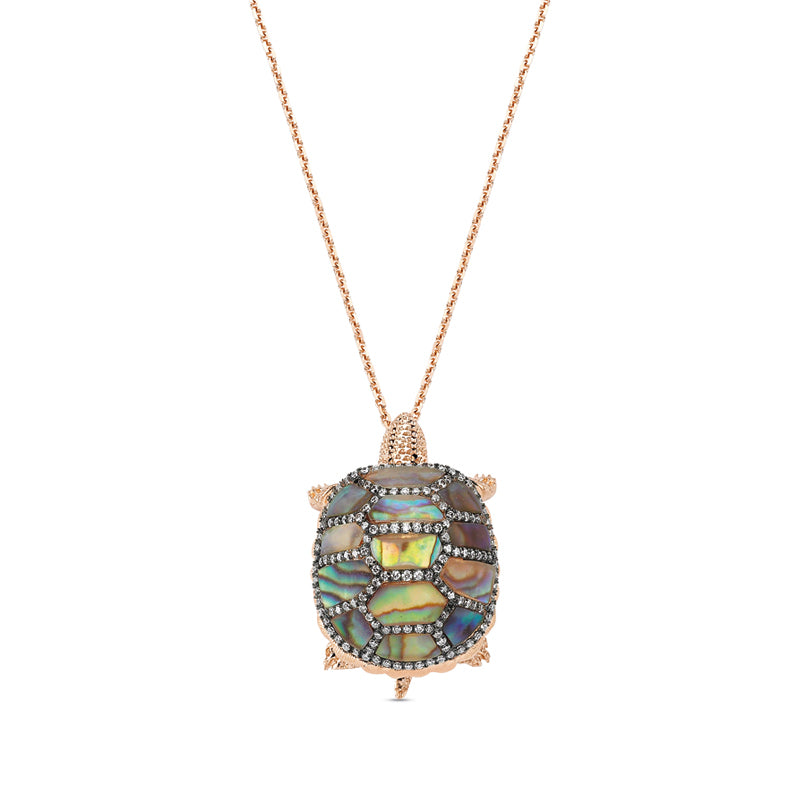 Aqua Light Turtle Necklace with Precious Stones