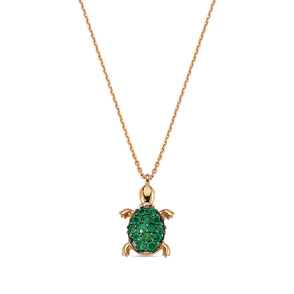 Aqua Light Small Turtle Necklace