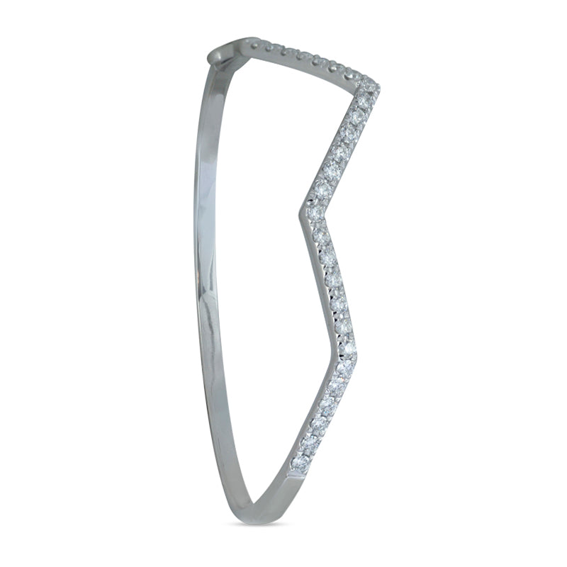 Ziggy Diamond Bangle in 18k White Gold