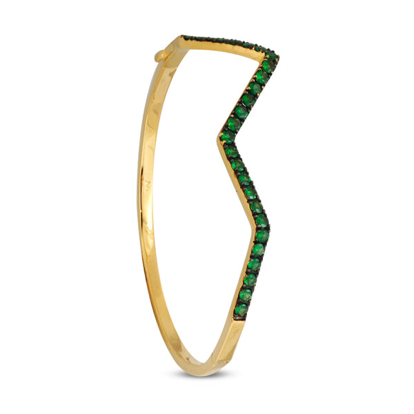Ziggy Pave Green Tsavorite Bangle