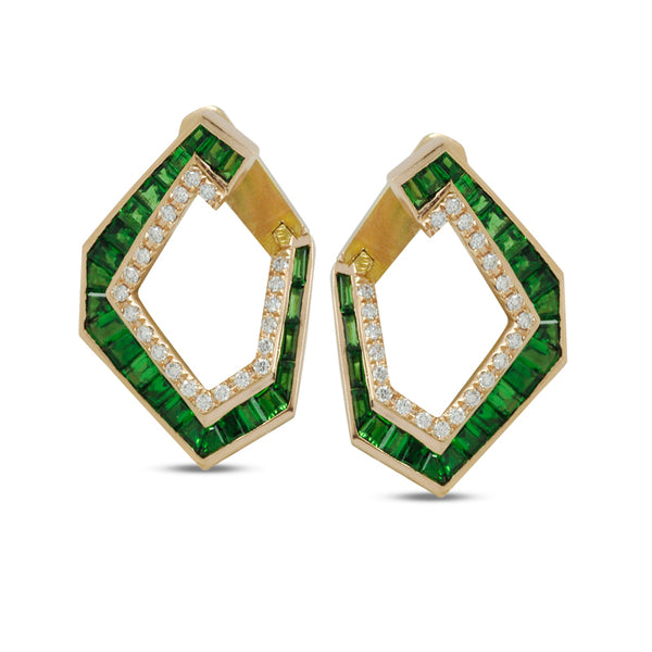 Origami Link No.5 Earrings Tsavorite Earrings