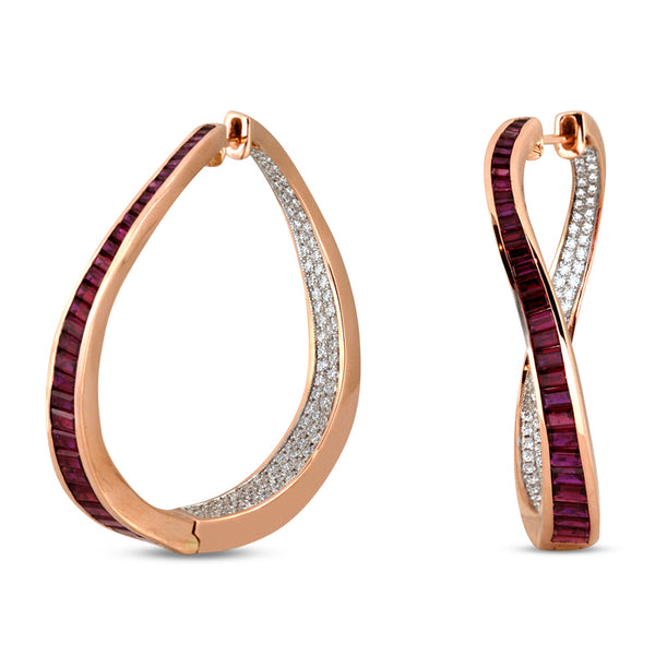 Talay Wave Twist Ruby Hoop Earrings