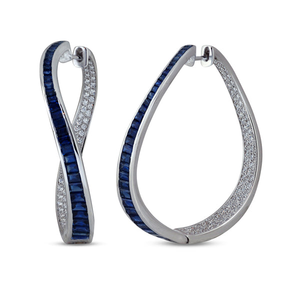 Talay Wave Twist Blue Sapphire Hoops Earrings